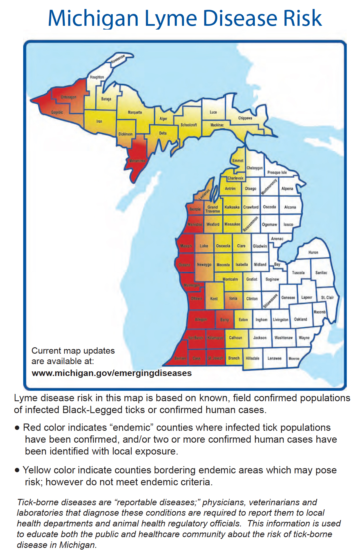 Lyme Disease Map for Michigan